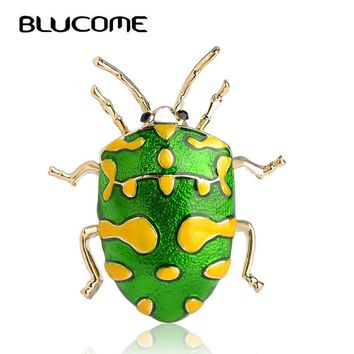 Blucome Vivid Yellow Spot Insect Brooch Kids Girls Clothes Decoration Gold-color Green Enamel Pins Suit Coat Dress Sweater Clips