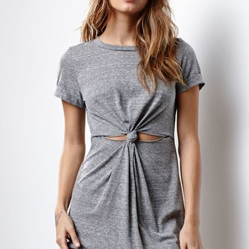 Honey Punch Gray Short Sleeve Knot Dress - Womens Dress - Gray