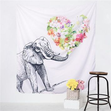 Flower-Heart Elephant Decorative Simple Tapestry