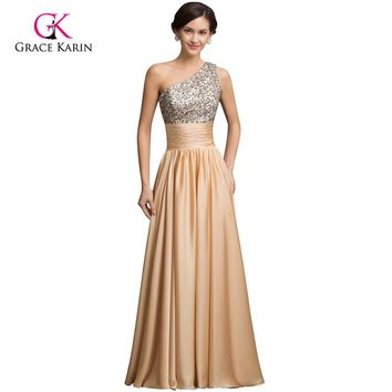 Real Sample 2017 Sequins Long Prom Dresses Gold Gowns Satin A-line One Shoulder cheap Formal Party Dress for Celebrity 7529