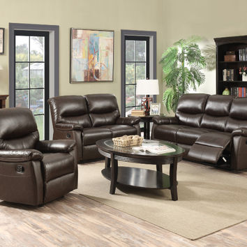 2 pc Holisdale collection brown leather like vinyl upholstery sofa and love seat set with recliner ends