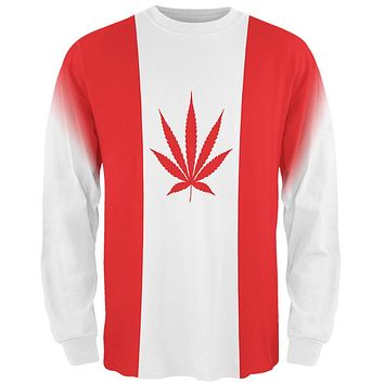 Canada Flag Pot Leaf Marijuana All Over Mens Long Sleeve T Shirt