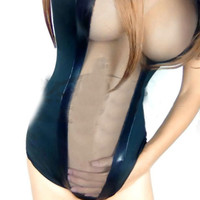 New Sexy Deep V Bodysuit See Through Bodysuit Thong Swimsuit Transparent Sheer Erotic Lingerie Swimwear Club Dance Wear FX1025
