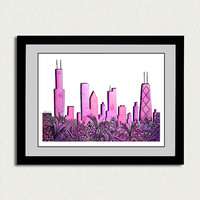 "Original watercolor painting. 11x15"". Chicago skyline painting with pink and purple watercolor, black marker."