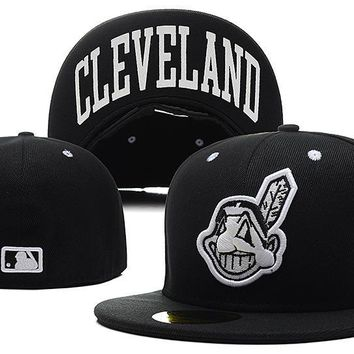 LMFON Cleveland Indians New Era MLB Authentic Collection 59FIFTY Cap Black HAT