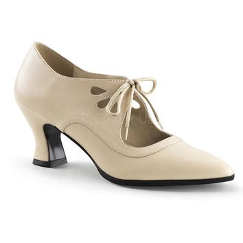Cream Beige Tie Front Mary Jane Flapper Shoes