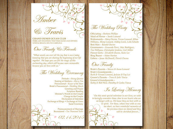 Printable Wedding Program Template from PaintTheDayDesigns on