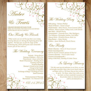 printable wedding program template download flourishing hearts blush pink antique
