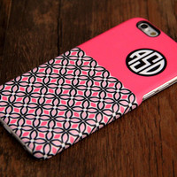 Pink Floral Monogram iPhone 6 Plus 5S 5 5C 4 Protective Case 920