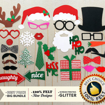 FELT Photo Booth Props. 30 Pc Christmas Photo Booth Props. Holidays GLITTER Photobooth Props. Christmas photo props. Christmas gift ideas