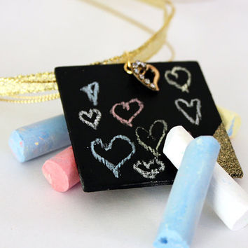 Chalkboard Glitter Necklace with Heart