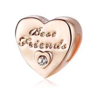 free shipping  1pc rose gold best friends Friendship Heart jewelry making diy bead Fits European pandora Charm Bracelets  A756