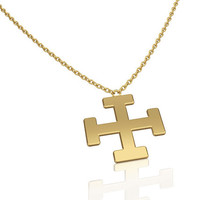 Jerusalem Cross Necklace - 14K gold Cross Pendant, Personalized Necklace, engravable Croix de Jérusalem