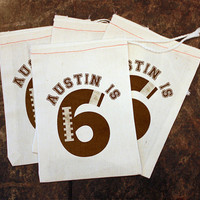 Football Birthday Party Favors - 5x7 Muslin Bags / Boy Sports Birthday Decor / Football Gift Bags / Football Party Treat Bags / Personalized