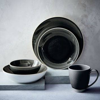Alta Crackle Glaze Dinnerware Set - Charcoal