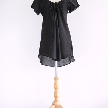 Romantic black flowy blouse // women lovely cotton lawn tunic small medium large