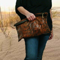 Oversized Leather Clutch Bag in Rusty Brown Snake Print