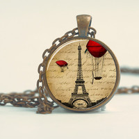 Pendant with Chain - Eiffel tower with vintage hot air baloons