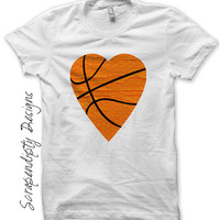 Iron on Basketball Shirt - Basketball Heart Iron on Transfer / Boys Sports Tshirt / Toddler Orange Clothes / Baby Basketball Outfit IT297-C