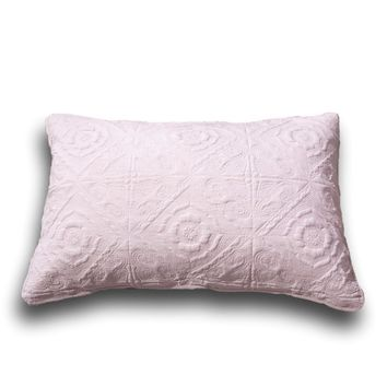 "DaDa Bedding Elegant Country Floral Tea Rose Pink Quilted King Pillow Sham, 20"" x 36"" 1-PC (JHW860)"