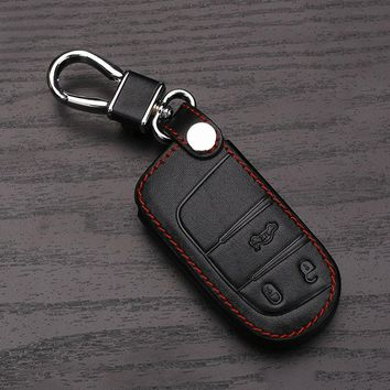 High quality leather key case for Fiat for Jeep Renegade leather smart key cover car key bag dust collector,Auto parts