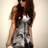 Wolf Animal New Wave Punk Rock T-Shirt  Tank Top M