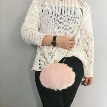 New 2017 Women Bags Handbags Shoulder Metal Chain Fur Furry Fluffy Solid Color Luxury High Quality Hasp Party Elegant Ladies