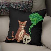 «Nekomata cat», Numbered Edition Coussin by Savousepate - From 25€ - Curioos