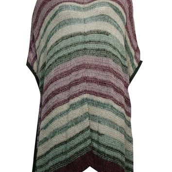 Two by Vince Camuto Women's Metallic Striped Knit Poncho
