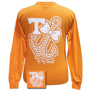 Tennessee Vols Chevron Anchor Bow Girlie Bright Long Sleeves T Shirt