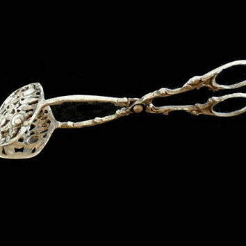 Serving Tongs, Gorgeous Victorian Style Vintage Silver Tone Tongs For Desserts Or Tea Party With Rose Decorations, Desserts server