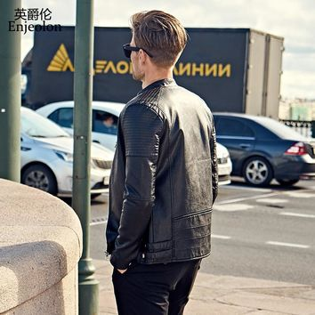 winter black Motorcycle Leather PU Jackets stand collar Men cool quality coat fashion clothes