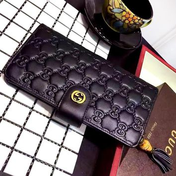 GUCCI New fashion tassel more letter leather couple wallet purse Black
