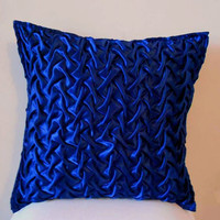 Decorative Throw Pillow cover in Royal Blue Canadian Smocking Accent Pillows Pillow Cover Cushion Cover Home Décor