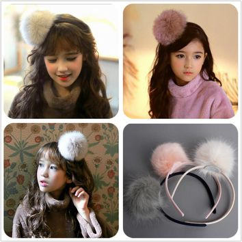 Big Furry Pom Pom Ball Hairbands Light Peac Cream and Grey School Girl Hair Bands Handmade Teen student Birthday accessories G7
