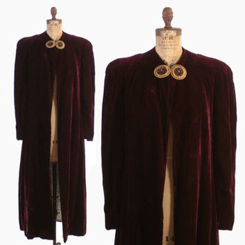 Vintage 30s Velvet COAT / 1930s Dark Red Wine Silk Velvet Long Evening Opera Coat M