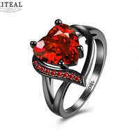 Mother day gift High Quality black gold rings  heart red &purple stone wedding ring