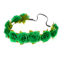 St. Patrick's Day Green Roses Garland Headwrap