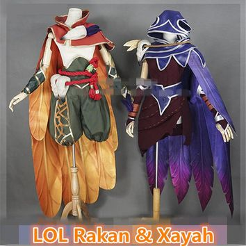 Custom Size Anime LOL sweethearts the Charmer Rakan the Rebel Xayah Cosplay Costume Halloween