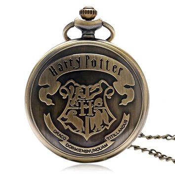 Harry potter Shield Hogwarts School of Witchcraft and Wizardry Pocket Watch Motto Badge Snake Lion Eagle Wolf Necklace Watches