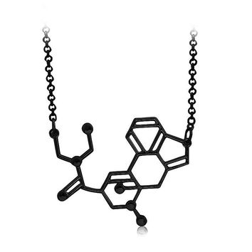 Science Geek Acid Chemical Molecule Structure Gold or Silver Pendant Bib Necklaces