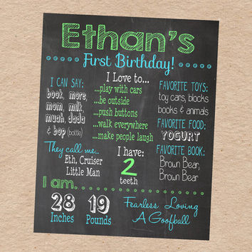 "Chalkboard Birthday Infomation Poster- Customized ""chalkboard"" Poster with your child's information. Great Photo Prop or Party Decoration!"