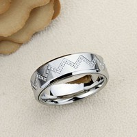 Free Engraving Personalized 8MM Stainless Steel Wedding Band Promise Ring CZ Zigzag Pattern Spinner Ring Inside Engraving-ZSTR143