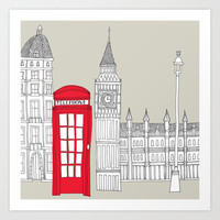 London Red Telephone Box Art Print by Bluebutton Studio