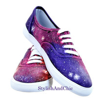 Pink and Purple Galaxy Shoes  Hand Painted by StylishAndChic
