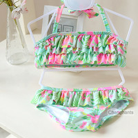 cute baby girls swimwear 2 pieces   light green with plants pattern  1-8Y girls swimsuit kid/children swimming Suit sw0610