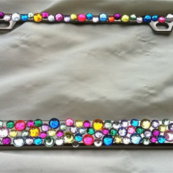 multi colored crystal license plate frame