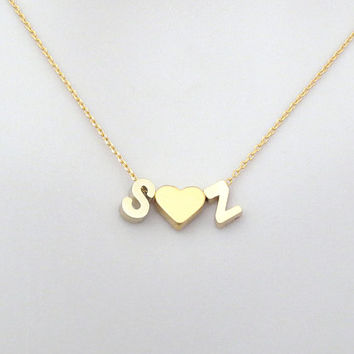 Personal, Upper case letter + Heart + Upper case letter, Gold, Silver, Necklace, Lovers, Friends, Mom, Sister, Gift