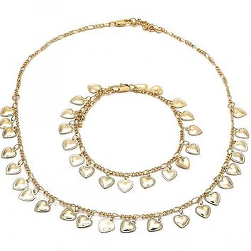 Gold Layered 06.105.0002 Necklace and Bracelet, Heart Design, Polished Finish, Golden Tone