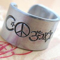 """Custom Hand Stamped Ring - Up to 25 Characters - Wide 1/2"""" Aluminum, Adjustable -  Personalized Just for You"""